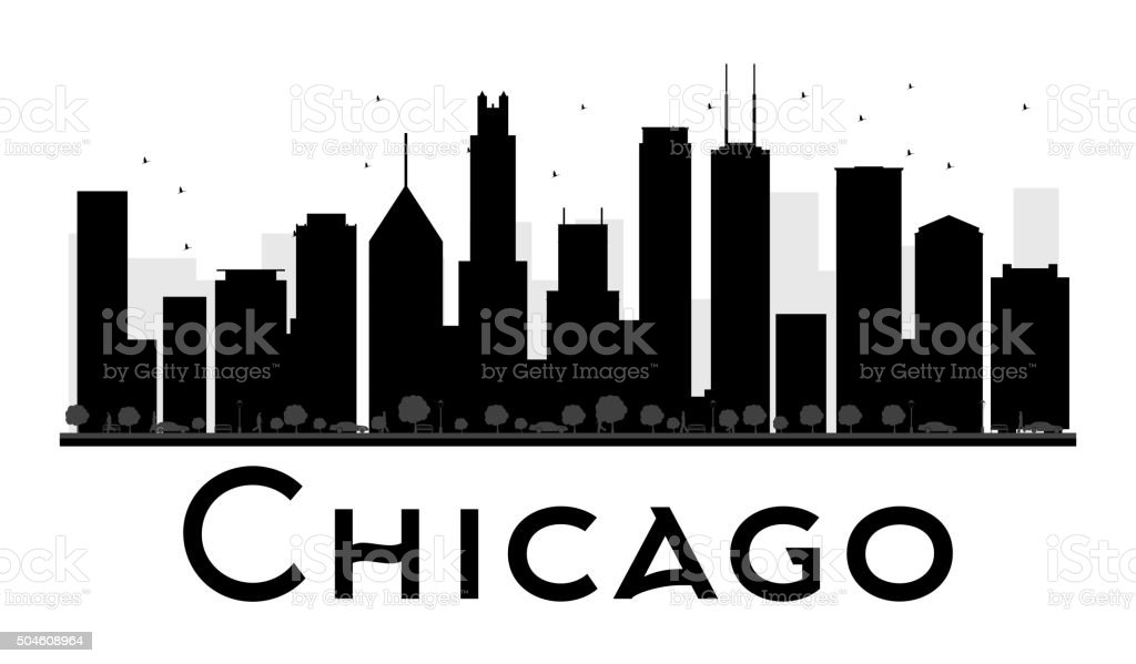 Chicago City skyline black and white silhouette. vector art illustration
