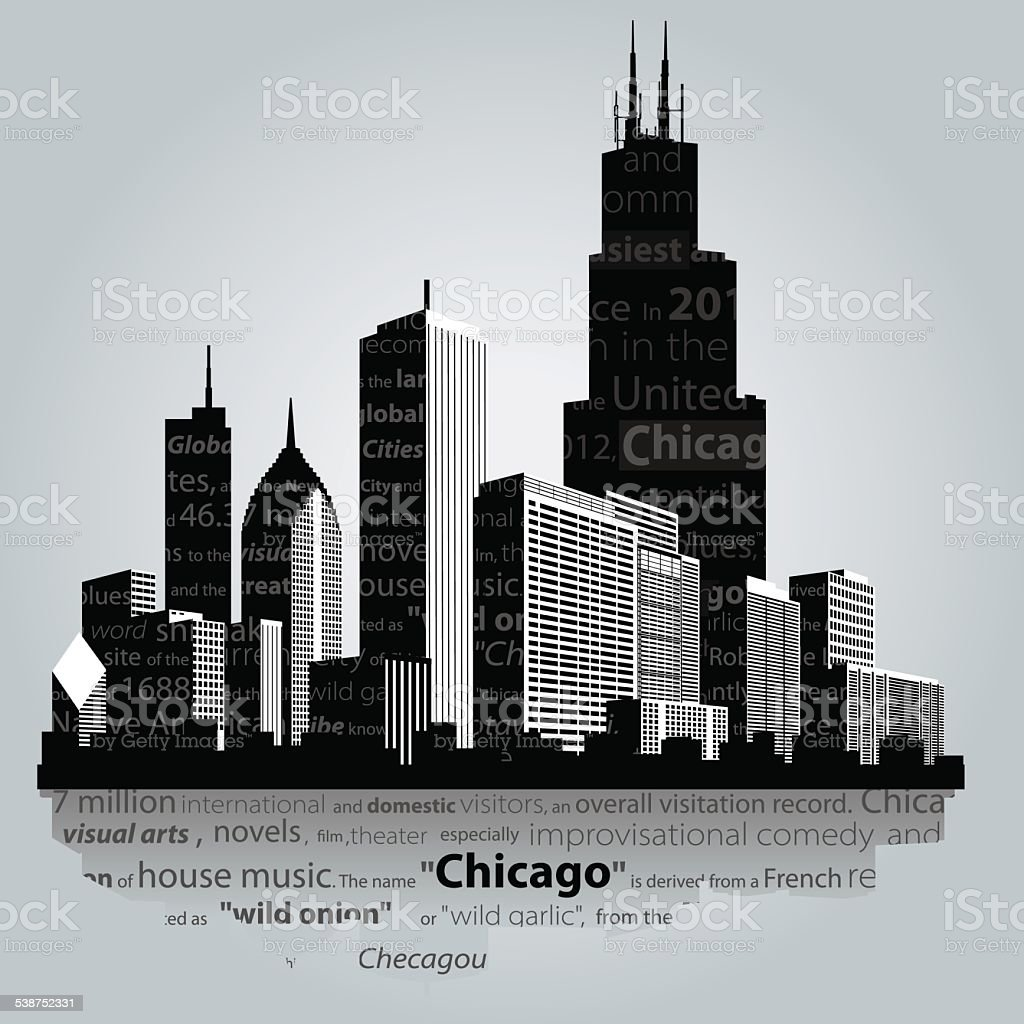 Chicago city. vector art illustration