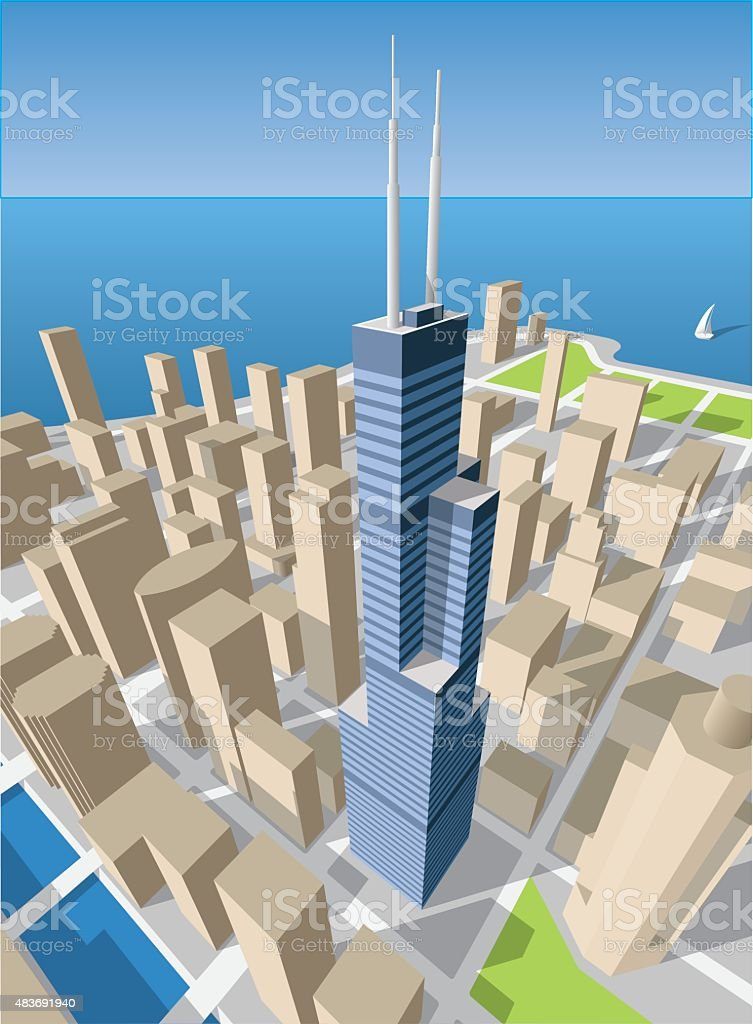 Chicago cityscape vector art illustration