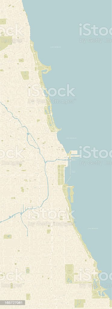Chicago Coastline Map vector art illustration