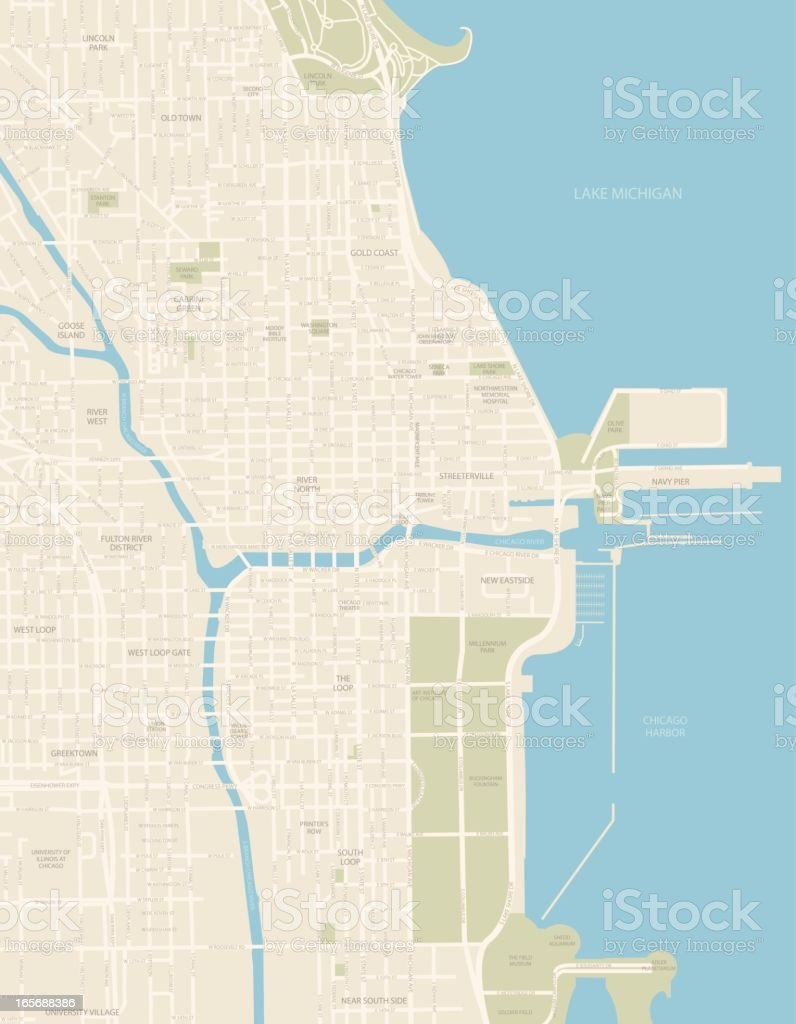 Chicago Downtown Map vector art illustration