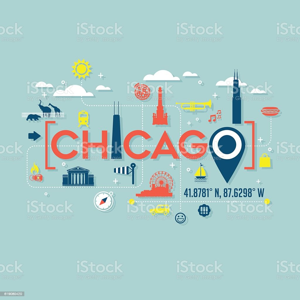 Chicago icons and typography for cards, banners, tshirts, posters vector art illustration