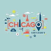 Chicago icons and typography for cards, banners, tshirts, posters