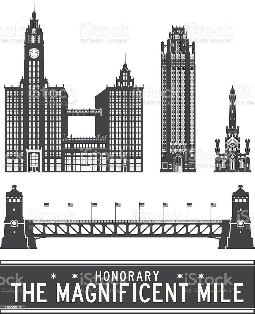 Chicago icons - The Magnificent Mile royalty-free stock vector art