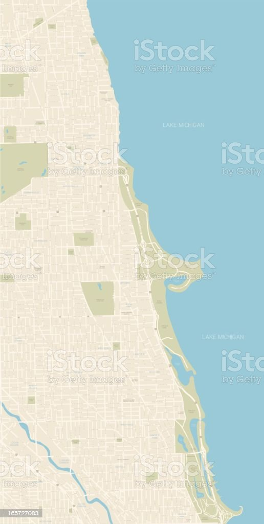 Chicago Map Northern Coast vector art illustration