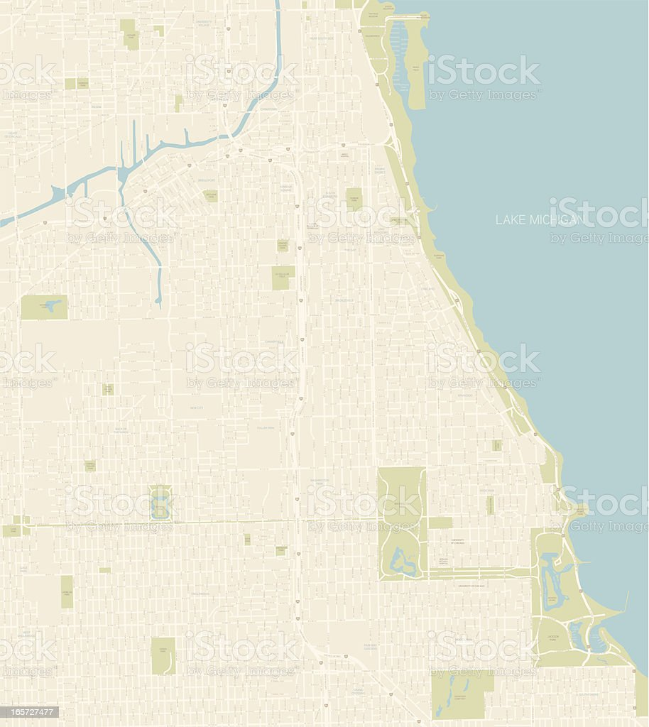 Chicago Map Southern Coast vector art illustration