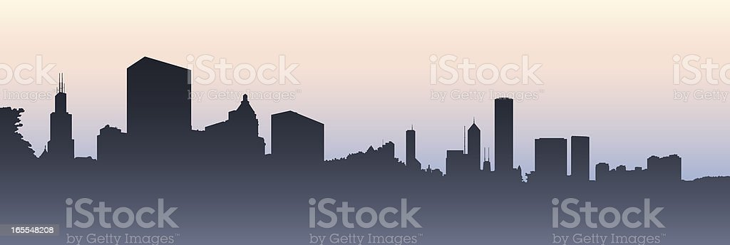 Chicago Morning vector art illustration