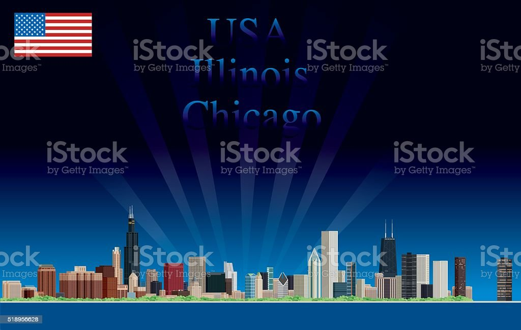 Chicago Night Skyline vector art illustration