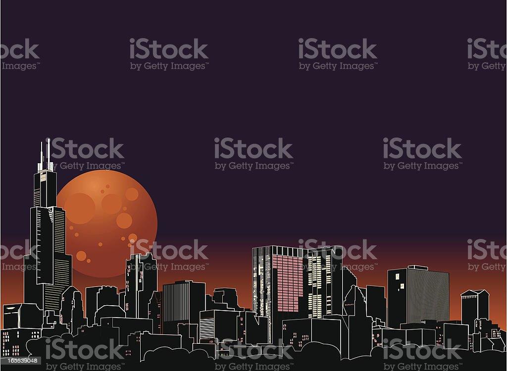 Chicago Night Skyline with Harvest Moon vector art illustration