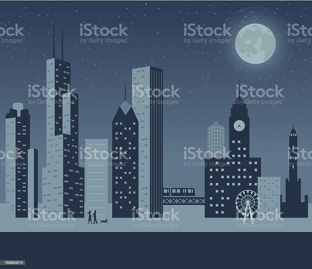 Chicago Night royalty-free stock vector art