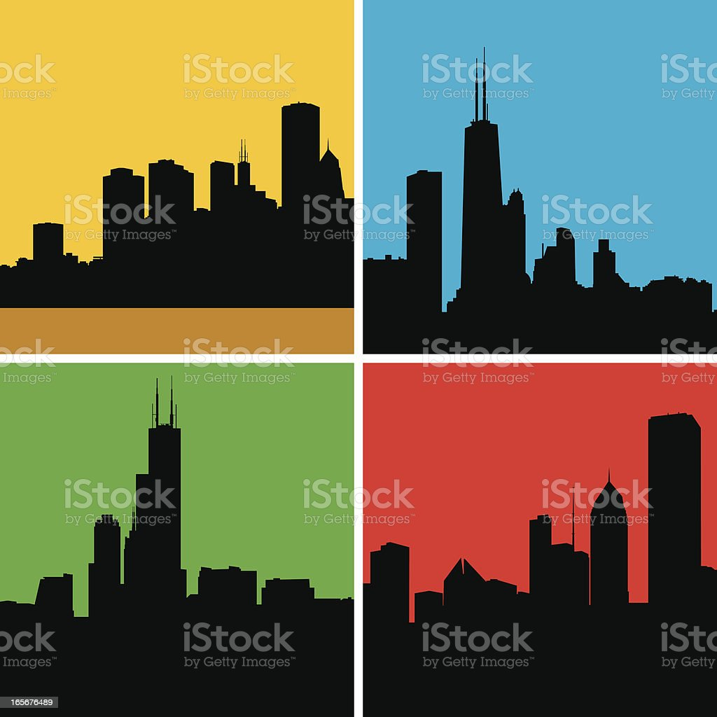 Chicago Silhouettes vector art illustration