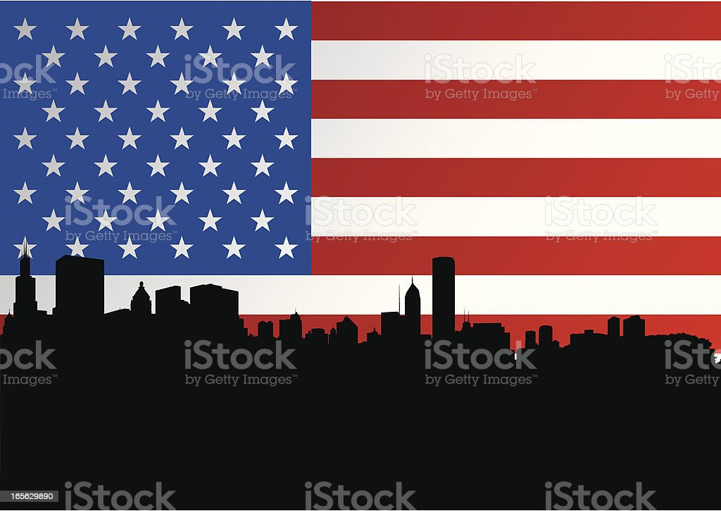 Chicago Skyline and American Flag royalty-free stock vector art