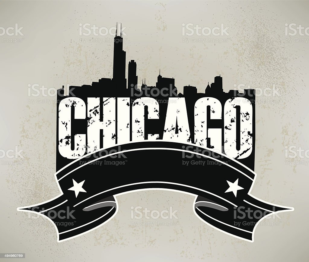 Chicago Skyline Banner Graphic Background vector art illustration