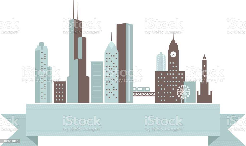 Chicago Skyline Banner royalty-free stock vector art