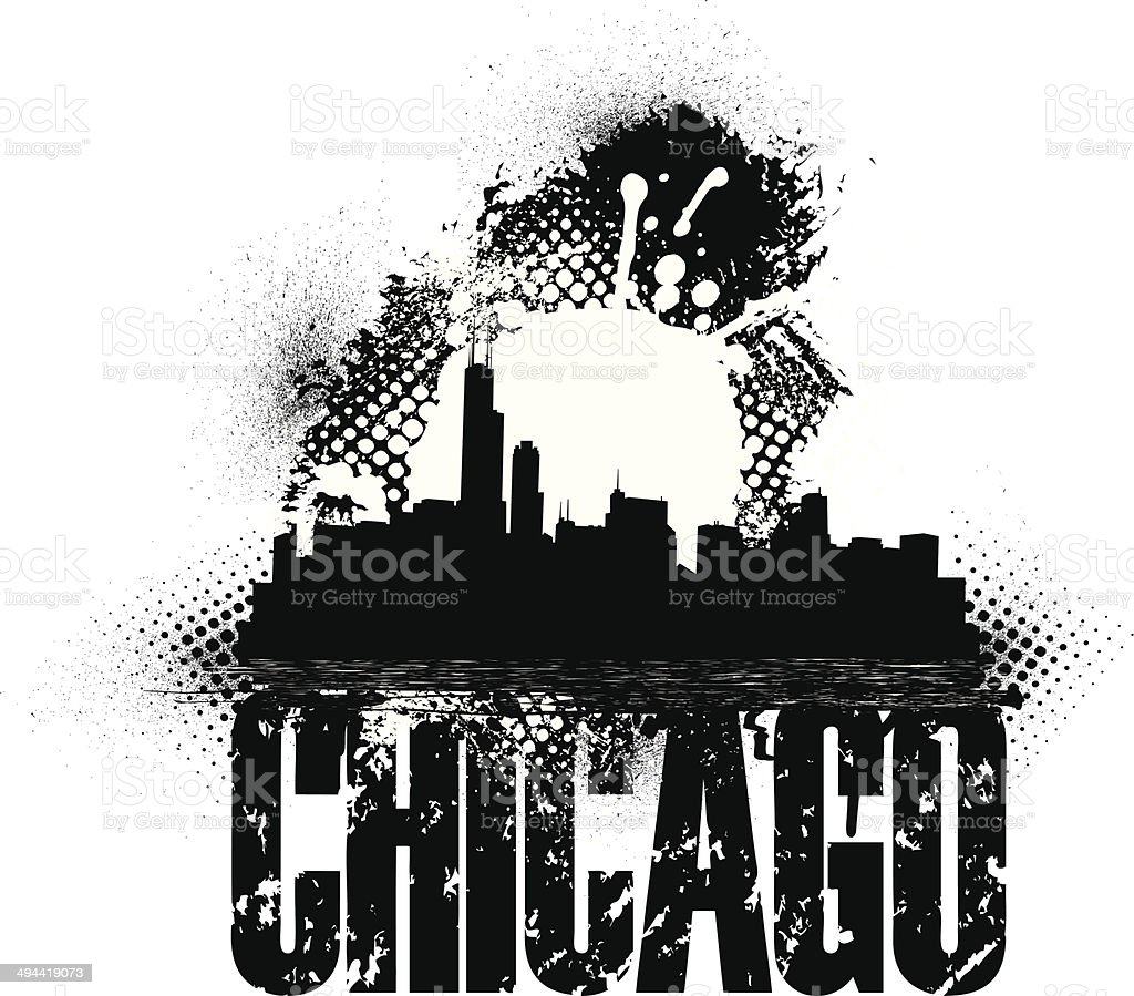 Chicago Skyline Grunge Graphic Background vector art illustration