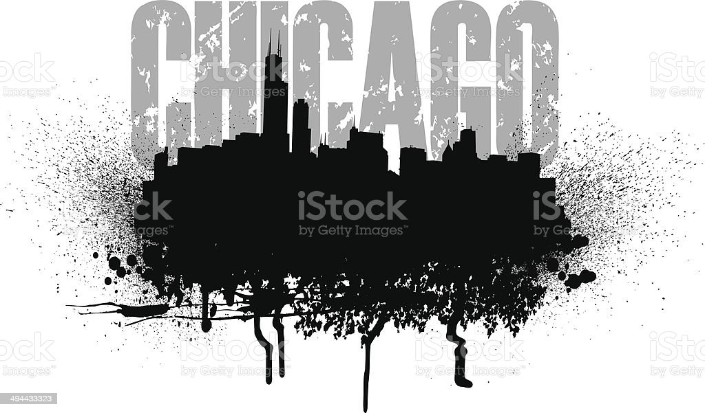 Chicago Skyline Grunge Graphic vector art illustration