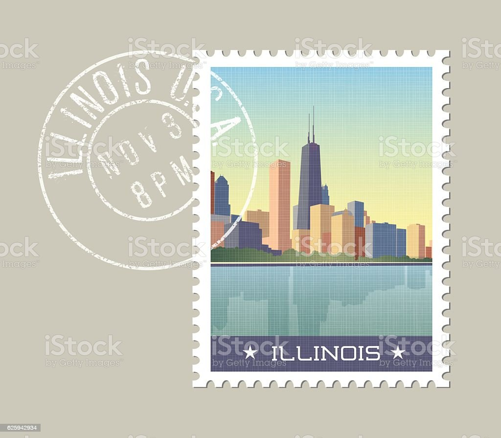 Chicago skyline on lake Michigan. Illinois, United States vector art illustration