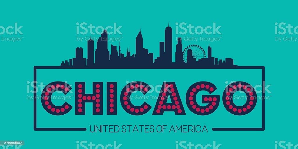 Chicago skyline silhouette poster vector vector art illustration