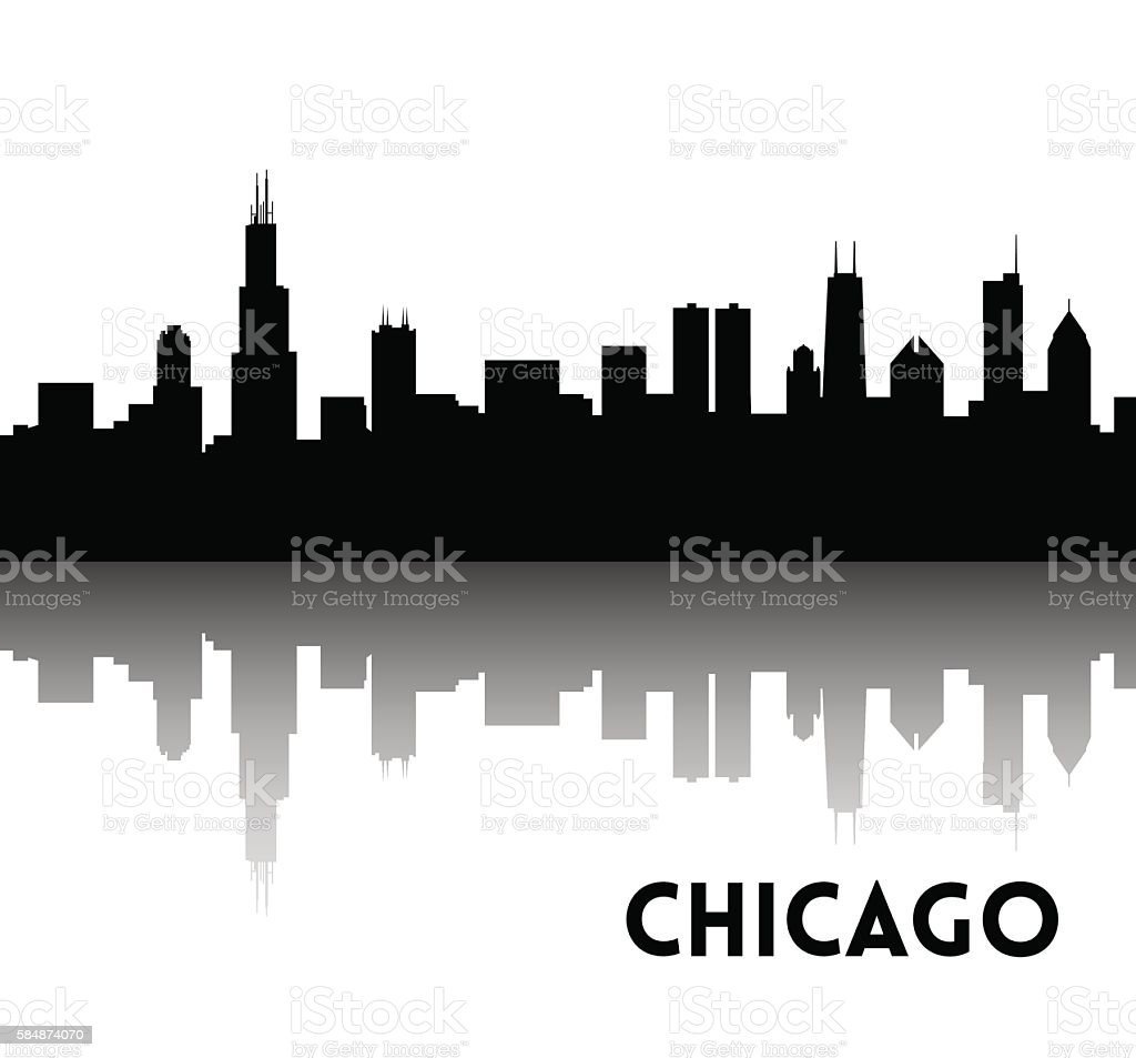 Chicago skyline silhouette vector art illustration