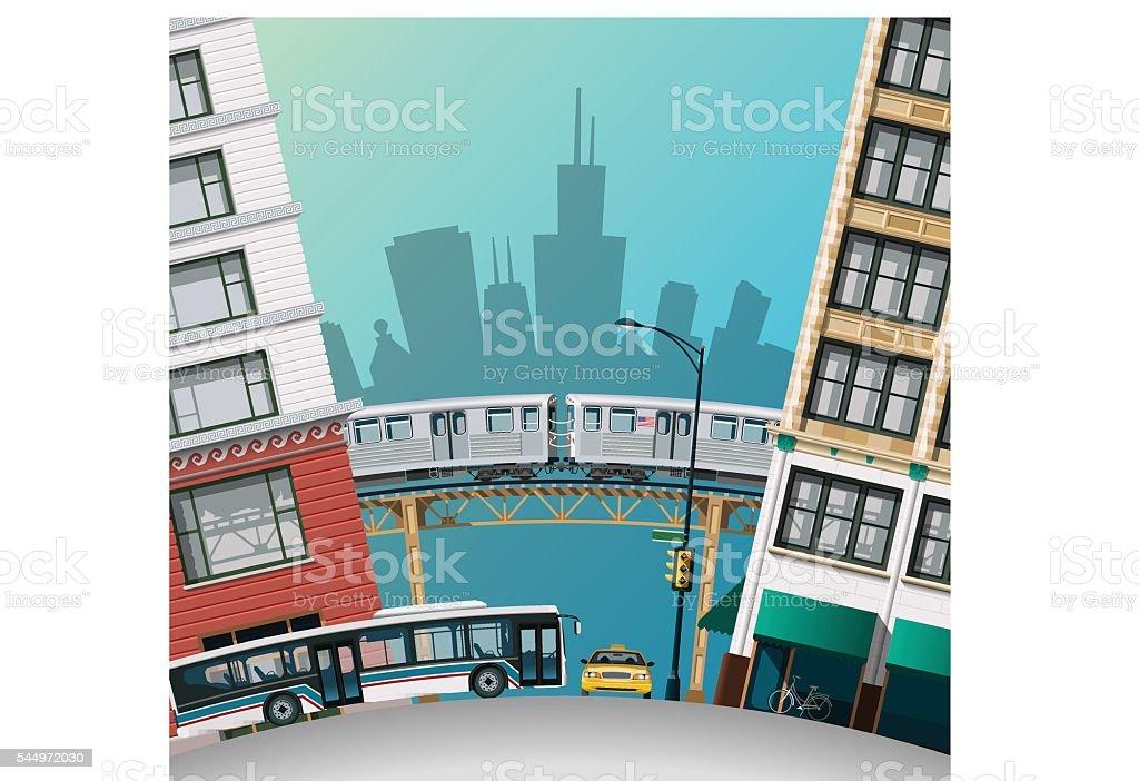 Chicago Traffic vector art illustration