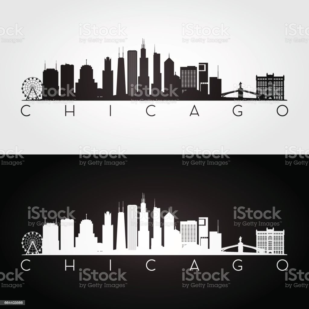 Chicago USA skyline and landmarks silhouette vector art illustration