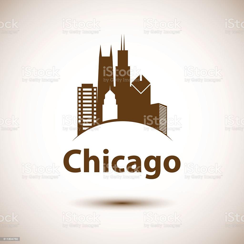 Chicago USA skyline silhouette, black and white design vector art illustration