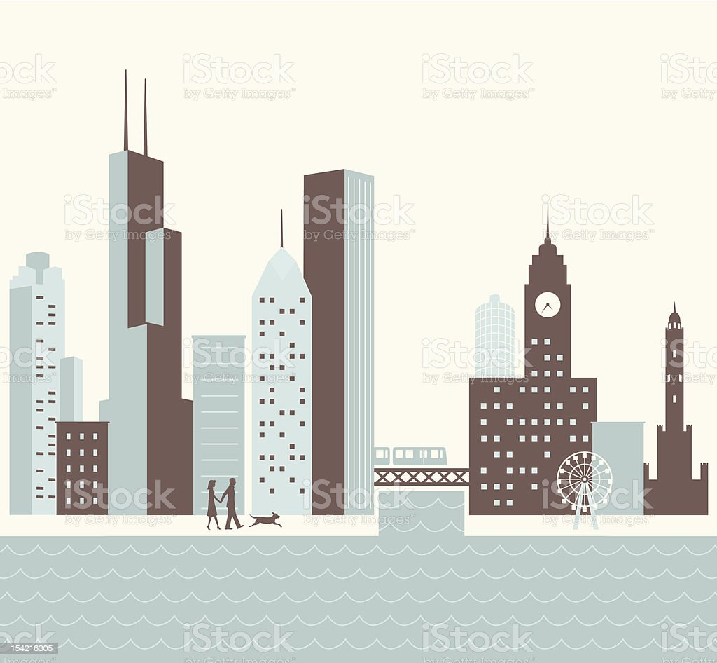 Chicago Walk royalty-free stock vector art