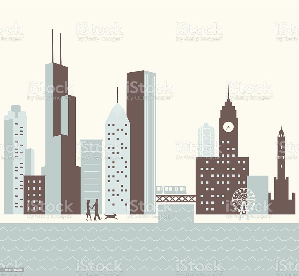 Chicago Walk vector art illustration