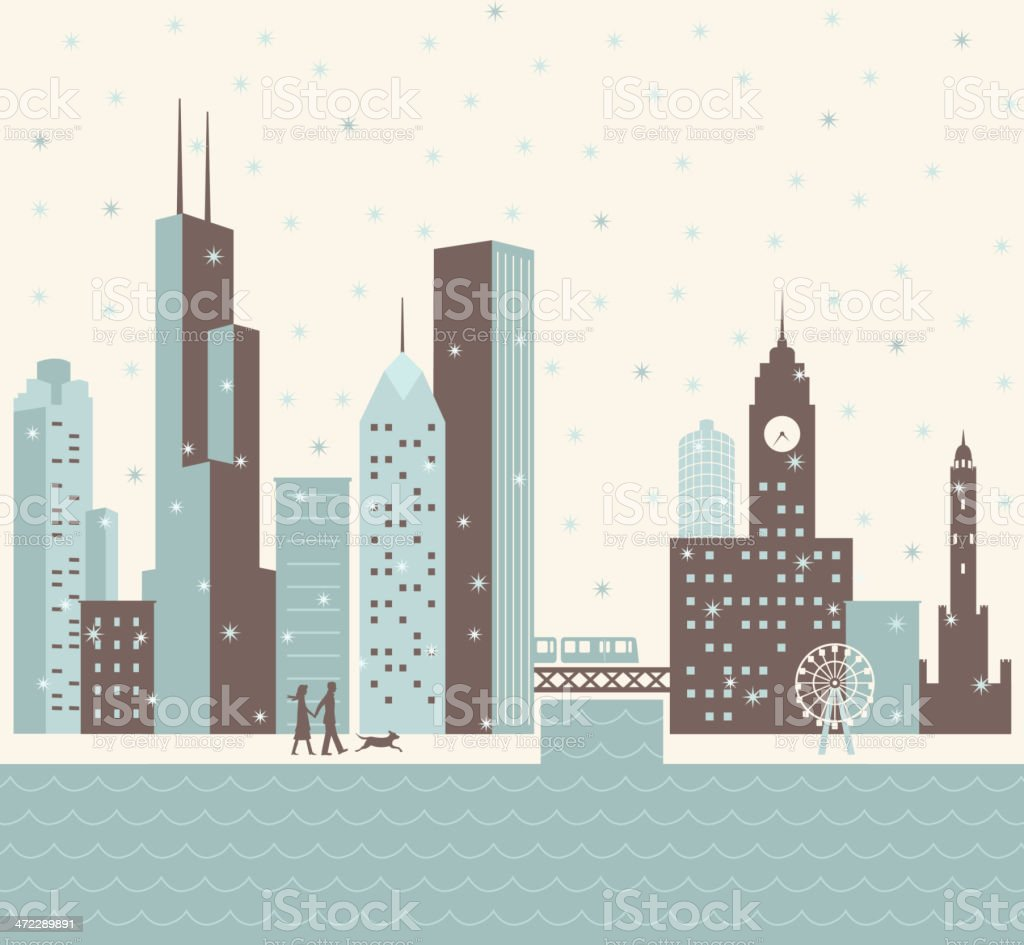 Chicago Winter royalty-free stock vector art