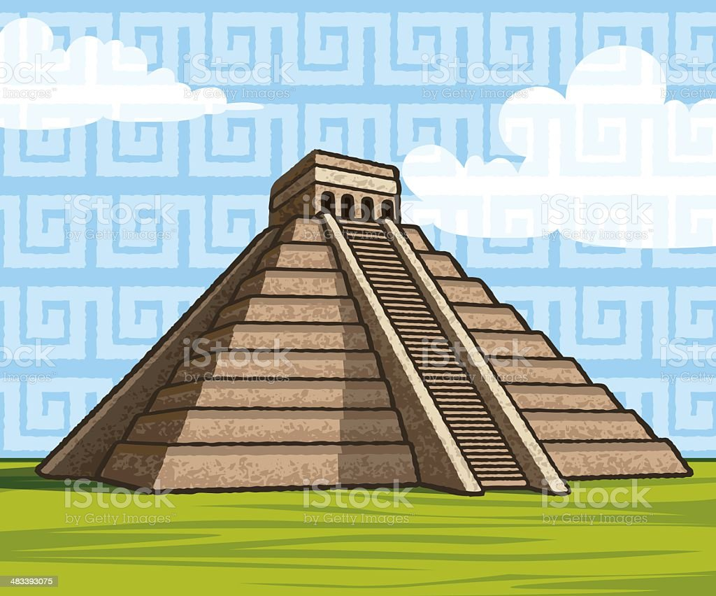 Chichen Itza?s Kukulkan Mayan Pyramid vector art illustration