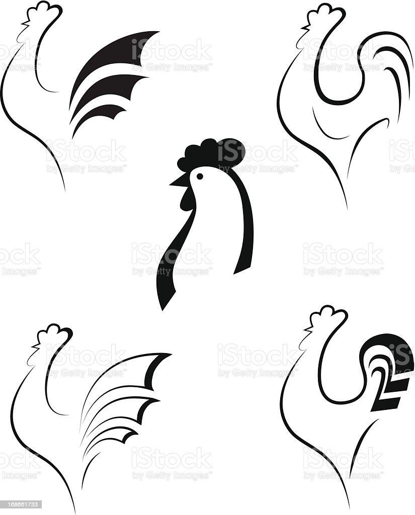 Chicken and cockerel, vector illustration royalty-free stock vector art