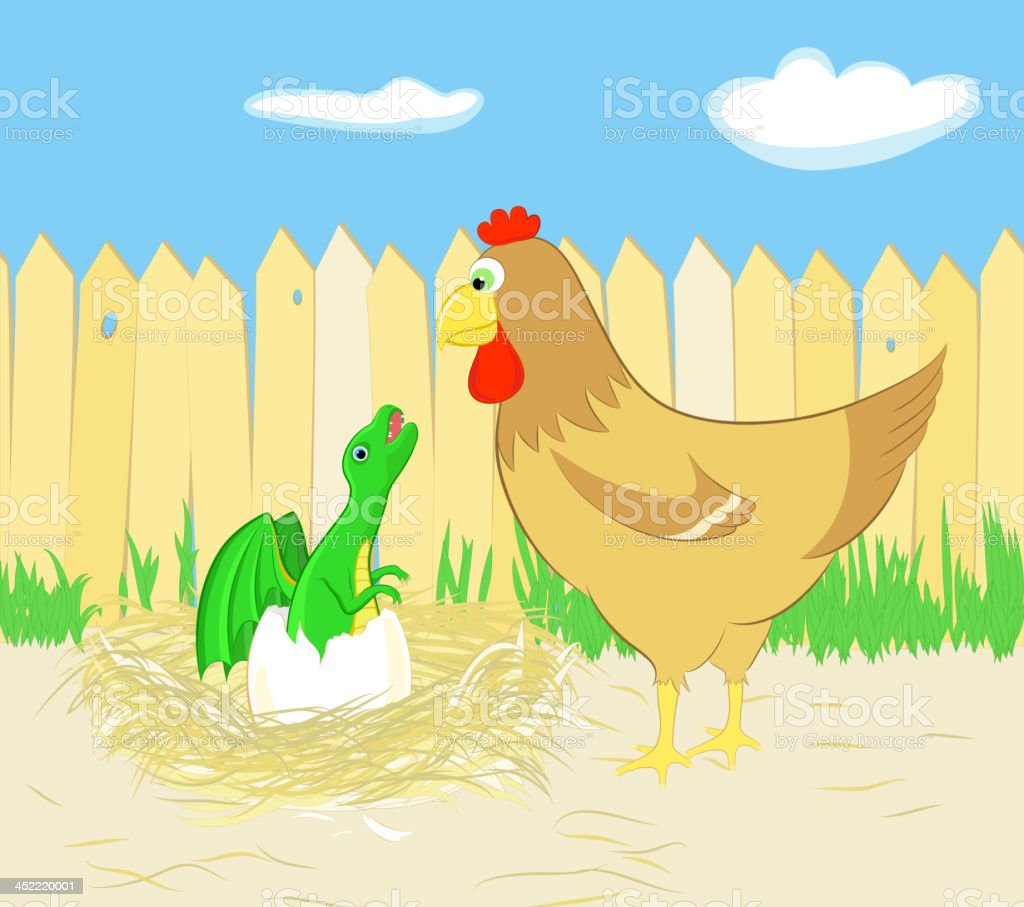 Chicken and dragon hatching from egg, a vector illustration royalty-free stock vector art