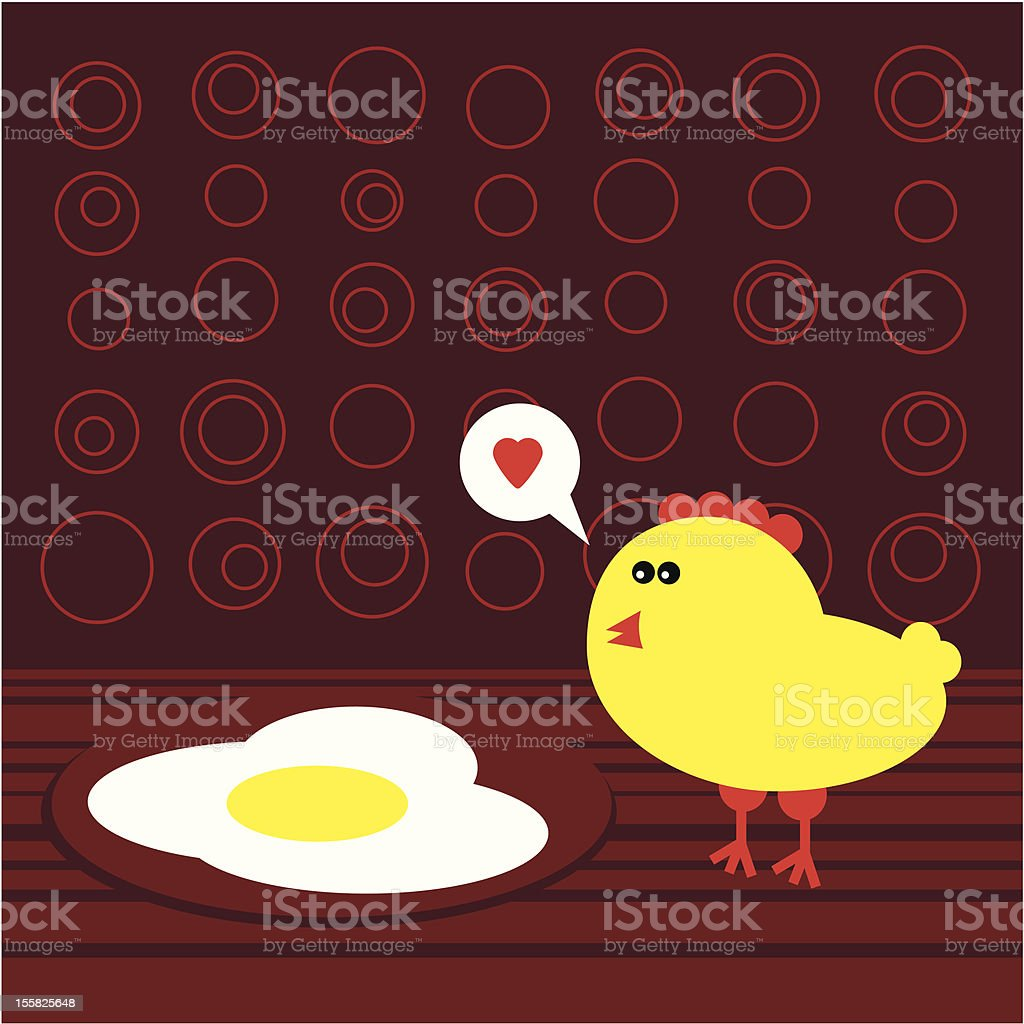 Chicken and fried eggs. (Easter stories) royalty-free stock vector art