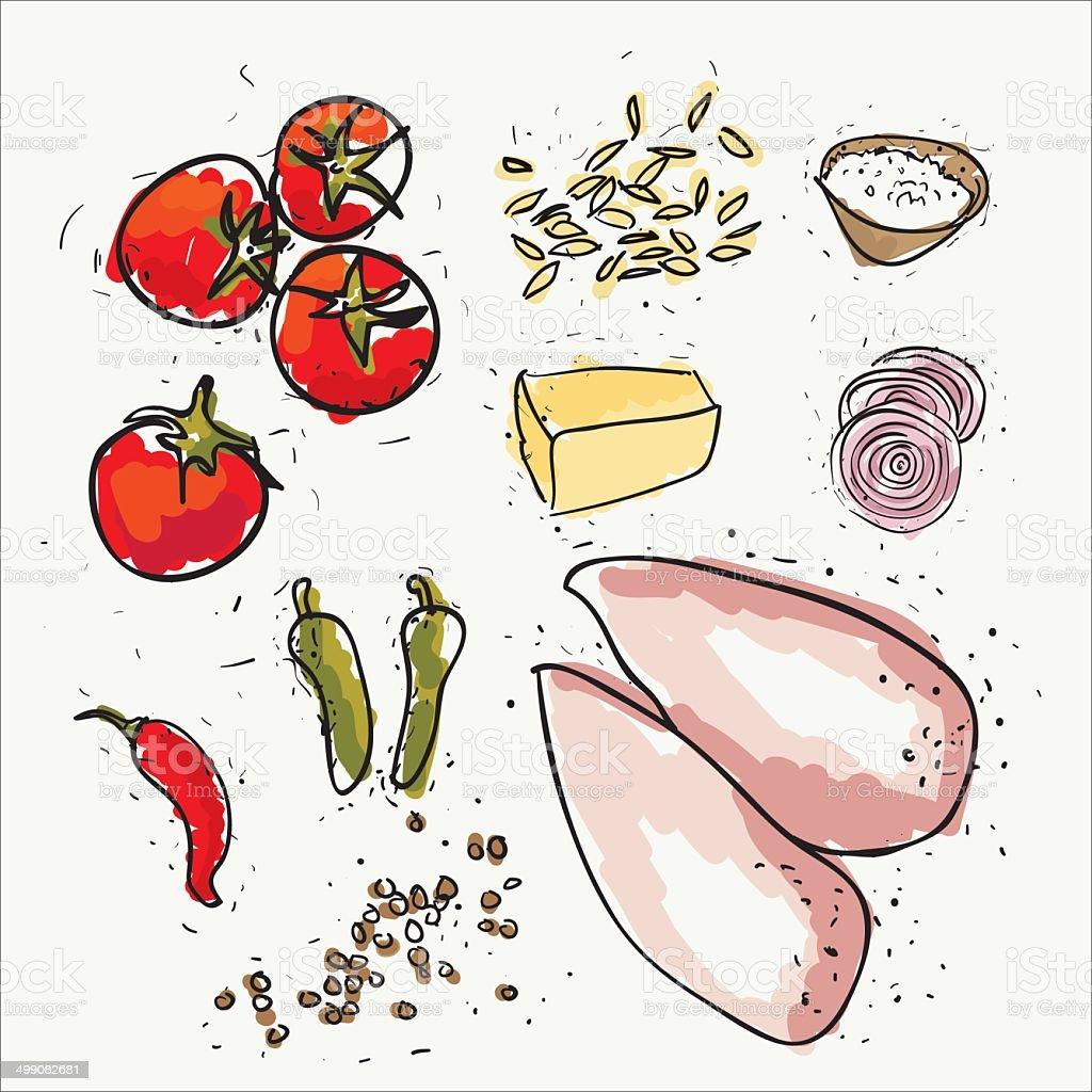 chicken and ingredients vector art illustration