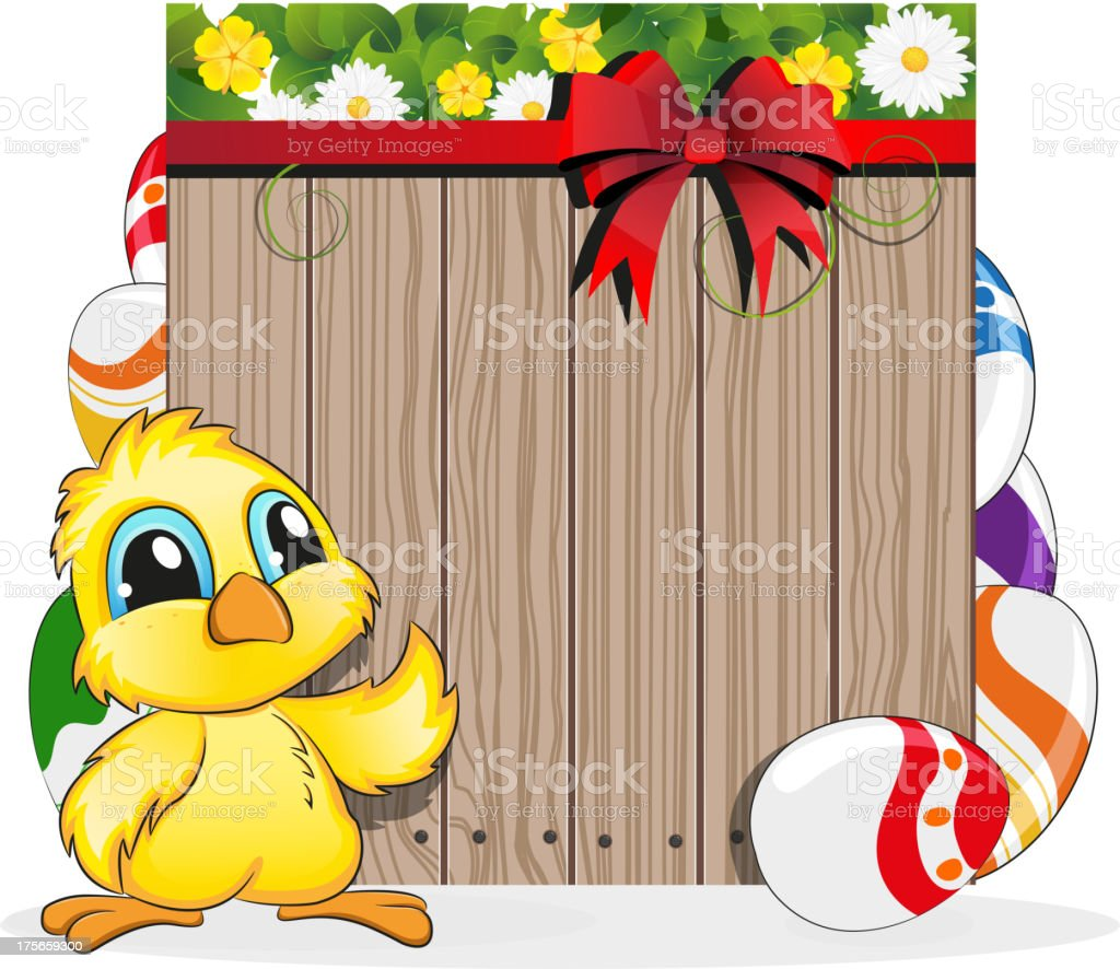 Chicken and  painted eggs royalty-free stock vector art