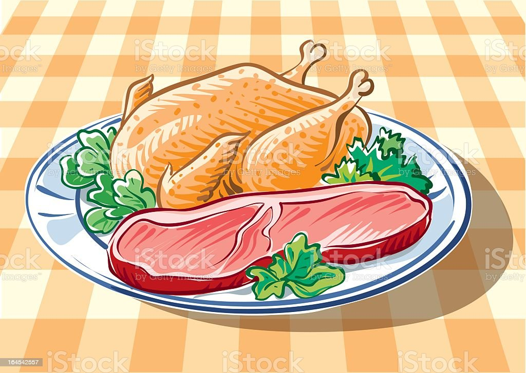 Chicken and steak vector art illustration