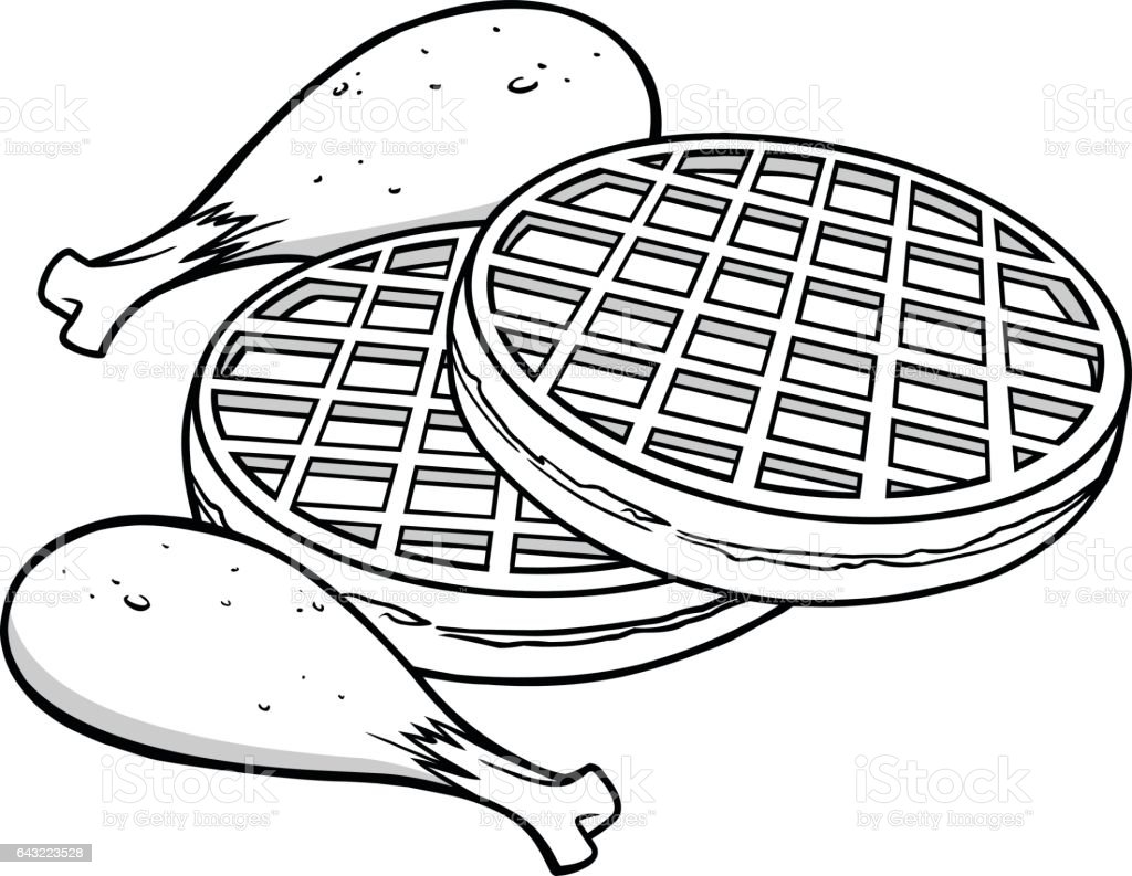 Chicken and waffles illustration stock vector art for Waffle coloring page