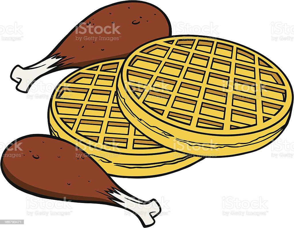 Chicken and Waffles vector art illustration