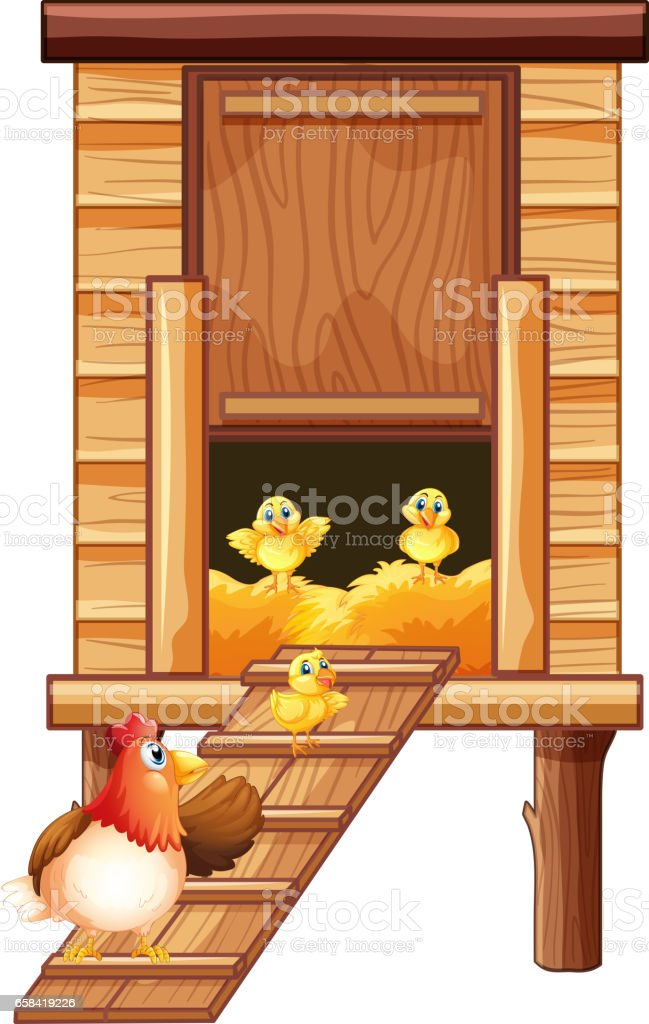 Chicken coop with hen and chicks vector art illustration