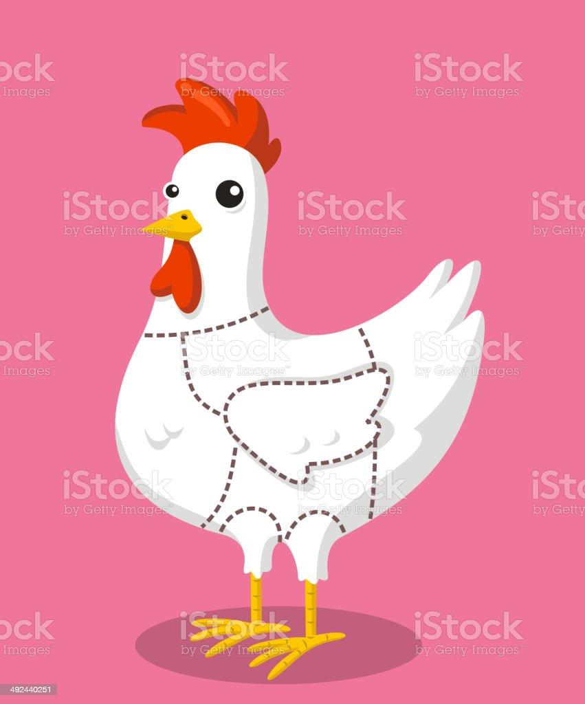Chicken cuts vector art illustration