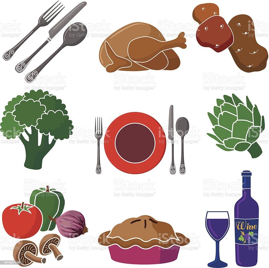 chicken dinner icon set vector art illustration