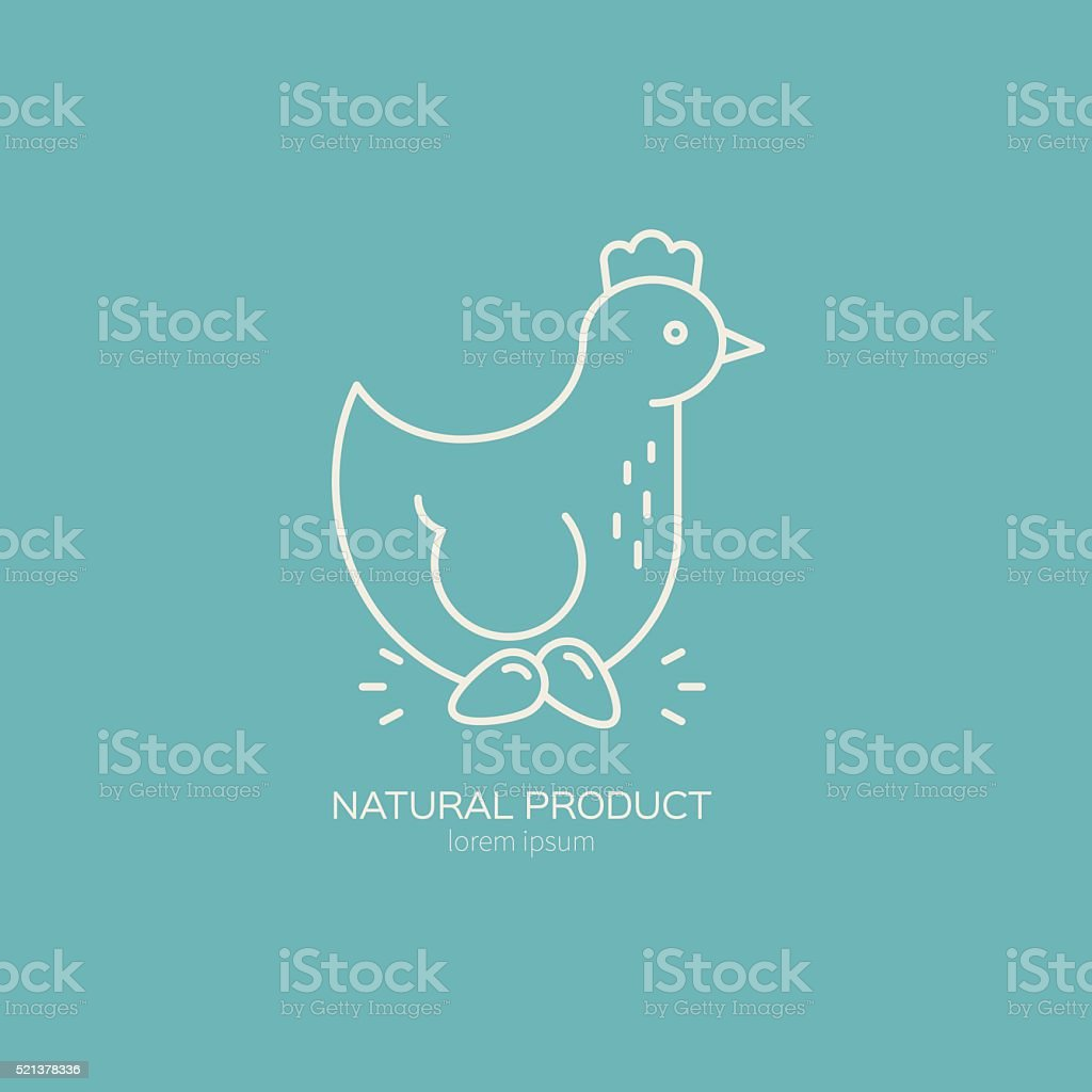 Chicken Emblem vector art illustration