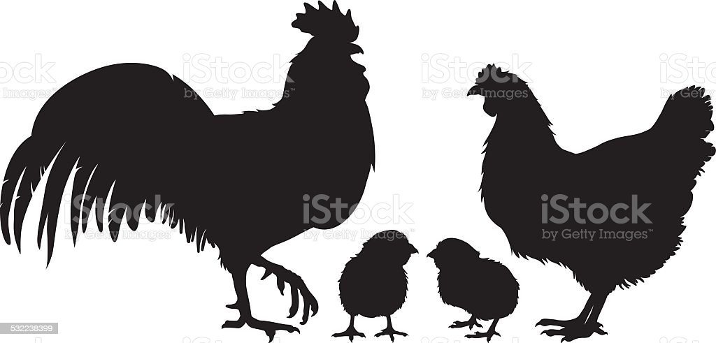 Chicken family silhouette vector art illustration