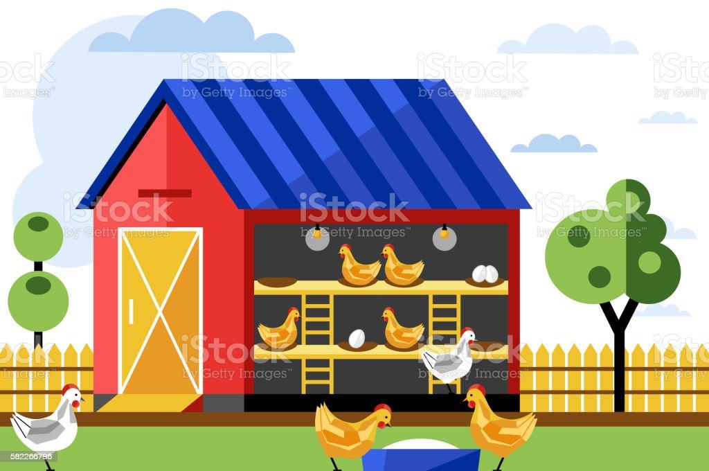 Chicken farm, vector illustration. vector art illustration