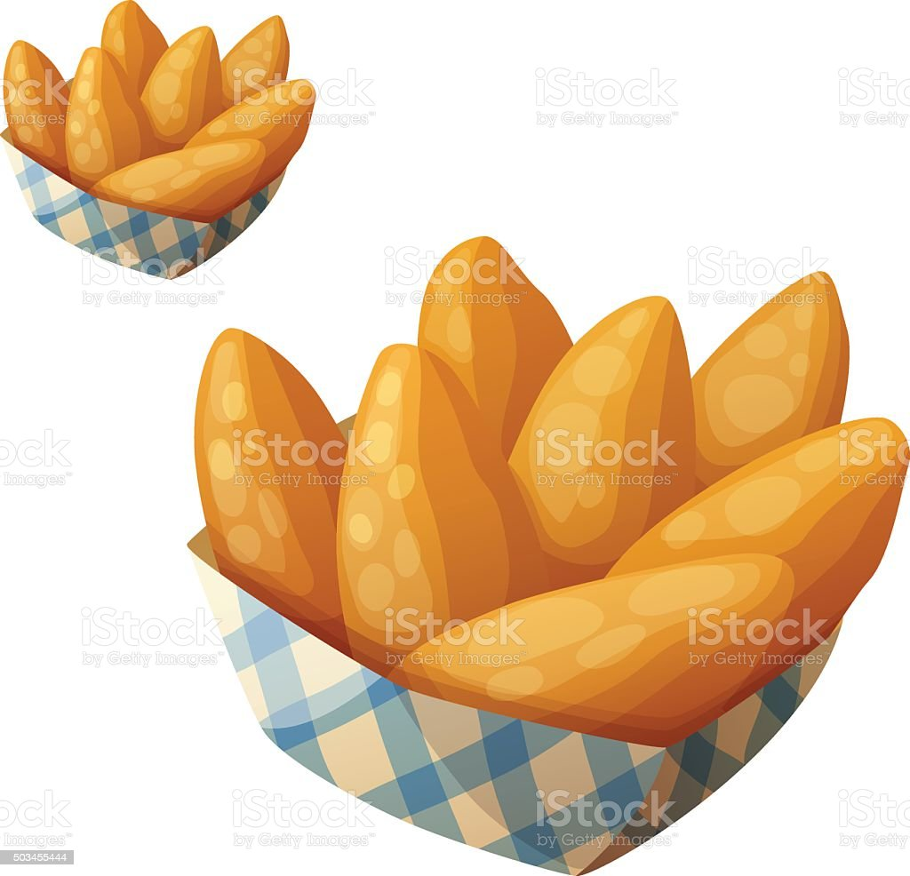 Chicken fingers in the paper basket. Detailed vector icon isolated vector art illustration