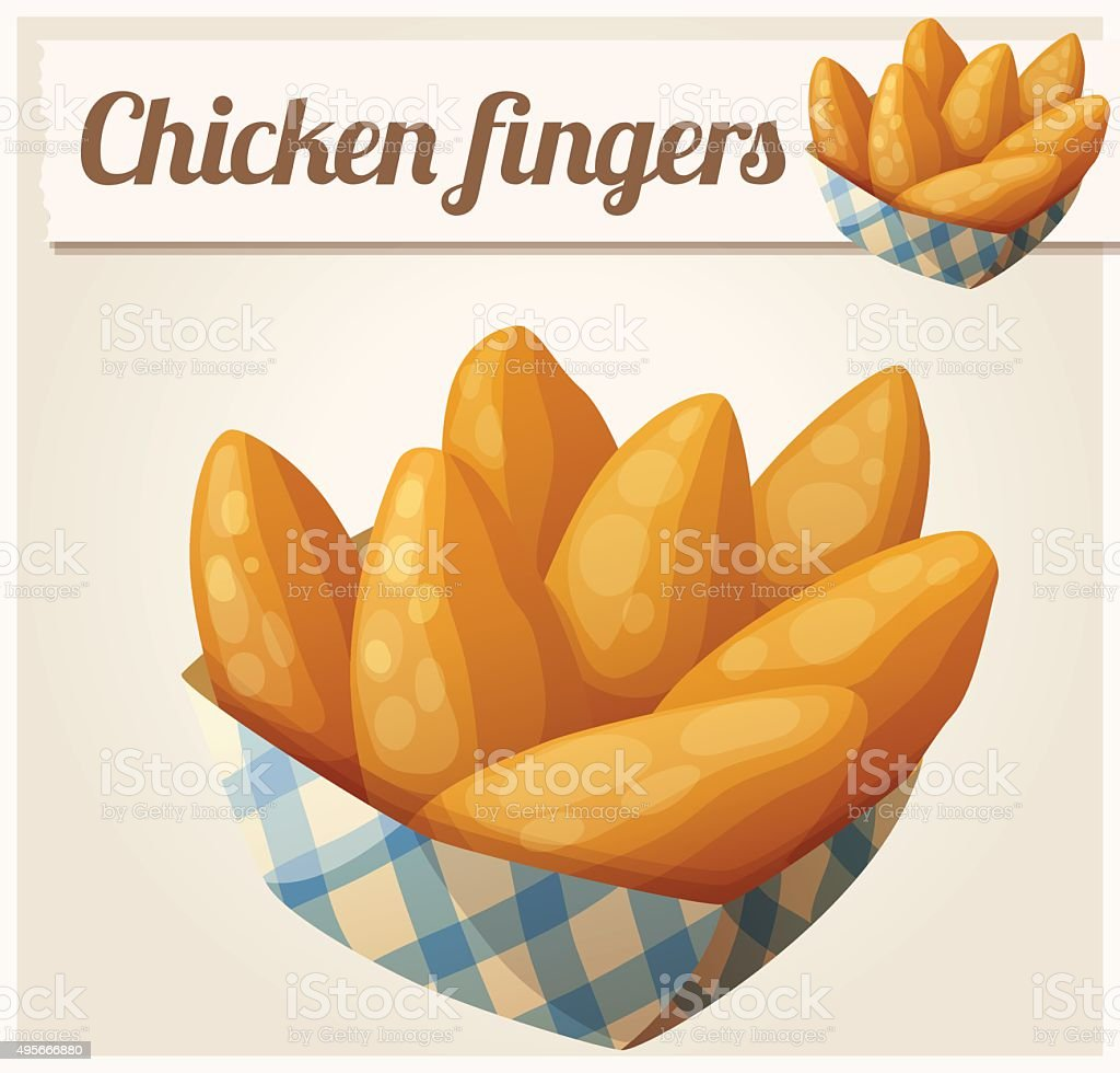 Chicken fingers in the paper basket. Detailed vector icon vector art illustration