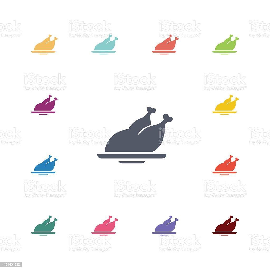 chicken flat icons set vector art illustration