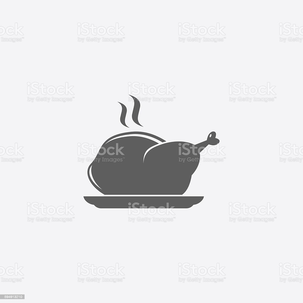 Chicken grill icon vector art illustration