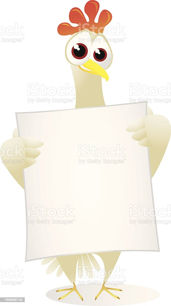 Chicken holding a large blank banner royalty-free stock vector art