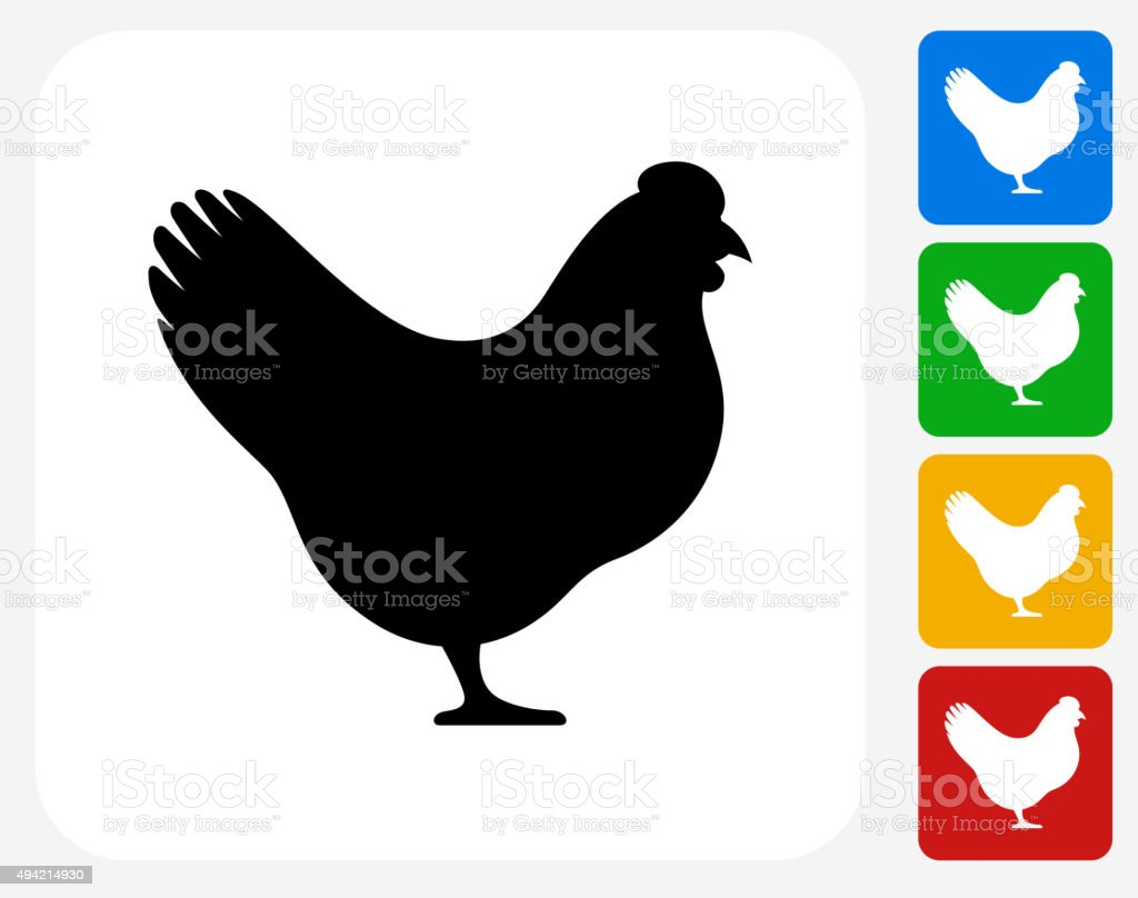 Chicken Icon Flat Graphic Design vector art illustration